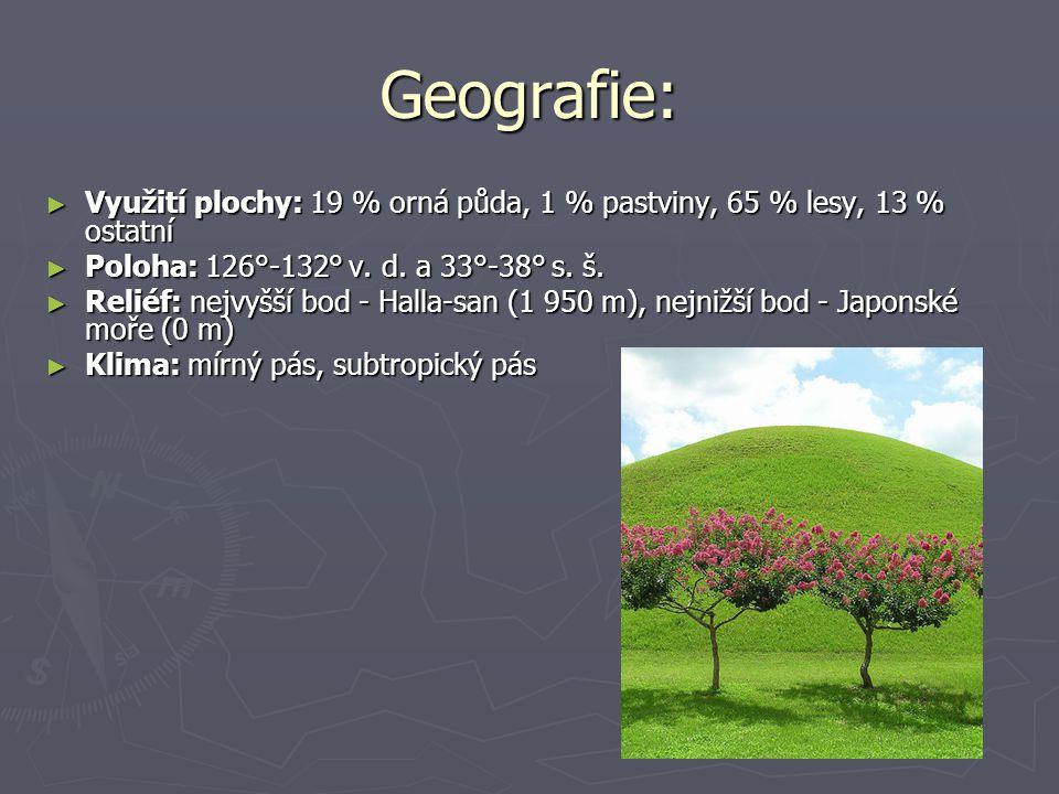 Geografie: ► Využití plochy: 19 % orná půda, 1 % pastviny, 65 % lesy, 13 % ostatní ► Poloha: 126°-132° v. d. a 33°-38° s. š. ► Reliéf: nejvyšší bod -