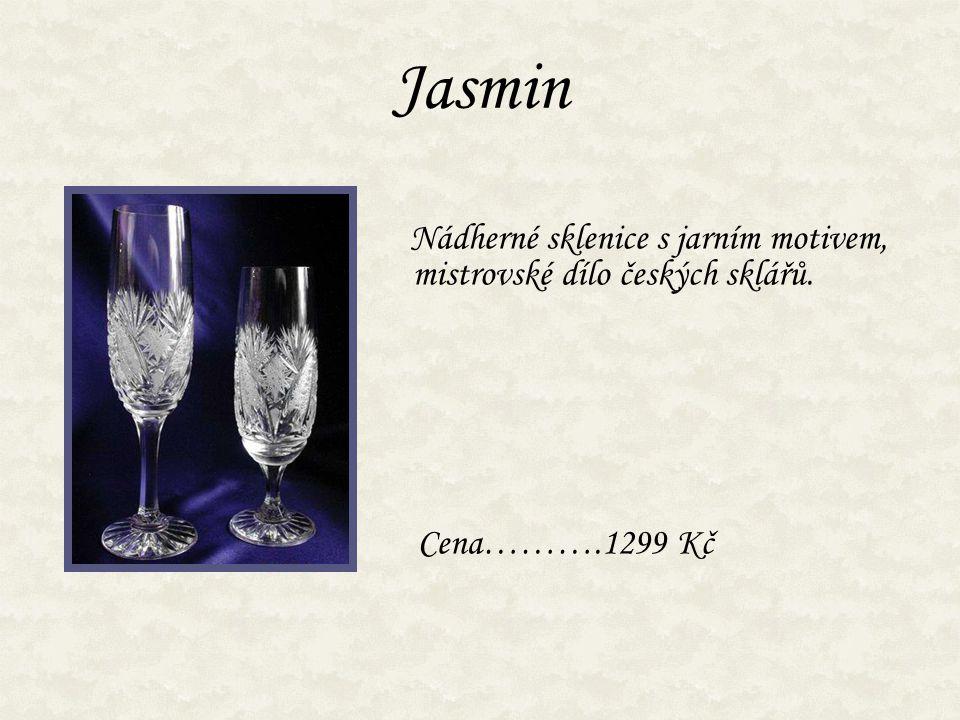 Jasmin Nádherné sklenice s jarním motivem, mistrovské dílo českých sklářů. Cena……….1299 Kč