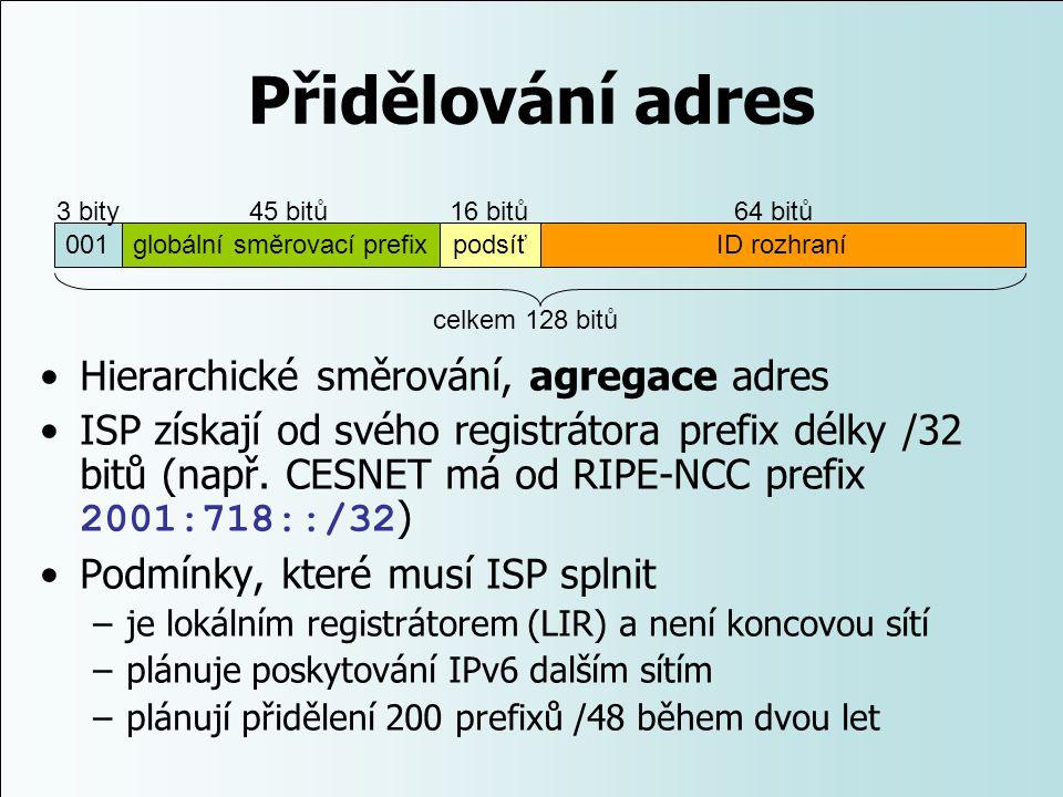 Přidělování adres Hierarchické směrování, agregace adres ISP získají od svého registrátora prefix délky /32 bitů (např. CESNET má od RIPE-NCC prefix 2