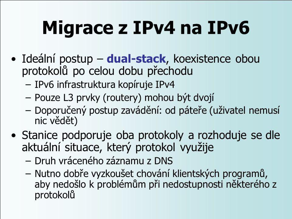 Migrace z IPv4 na IPv6 Ideální postup – dual-stack, koexistence obou protokolů po celou dobu přechodu –IPv6 infrastruktura kopíruje IPv4 –Pouze L3 prv