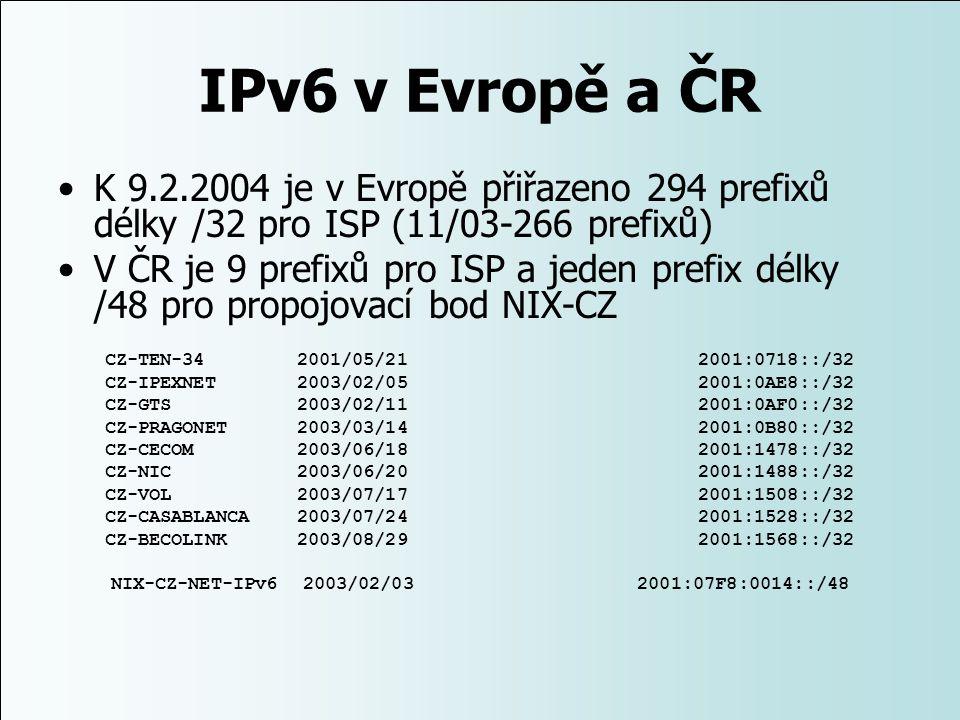 IPv6 v Evropě a ČR K 9.2.2004 je v Evropě přiřazeno 294 prefixů délky /32 pro ISP (11/03-266 prefixů) V ČR je 9 prefixů pro ISP a jeden prefix délky /