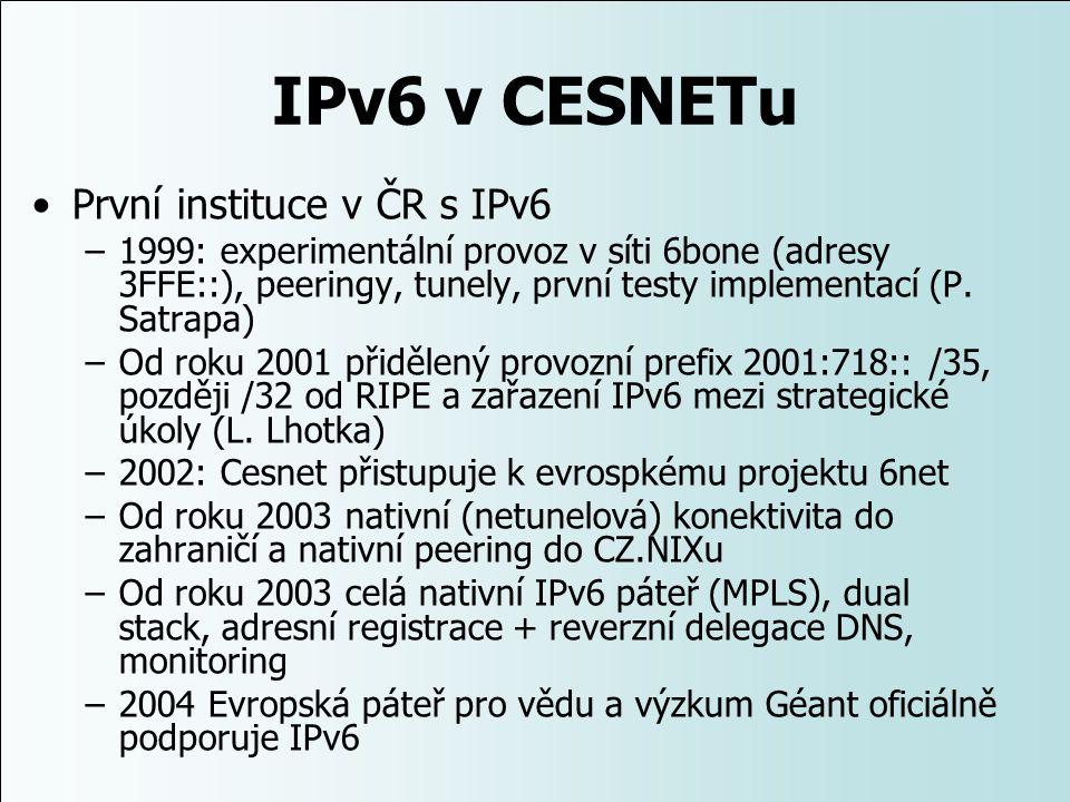 IPv6 v CESNETu První instituce v ČR s IPv6 –1999: experimentální provoz v síti 6bone (adresy 3FFE::), peeringy, tunely, první testy implementací (P. S