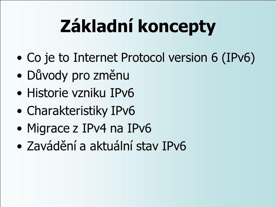 Základní koncepty Co je to Internet Protocol version 6 (IPv6) Důvody pro změnu Historie vzniku IPv6 Charakteristiky IPv6 Migrace z IPv4 na IPv6 Zavádě