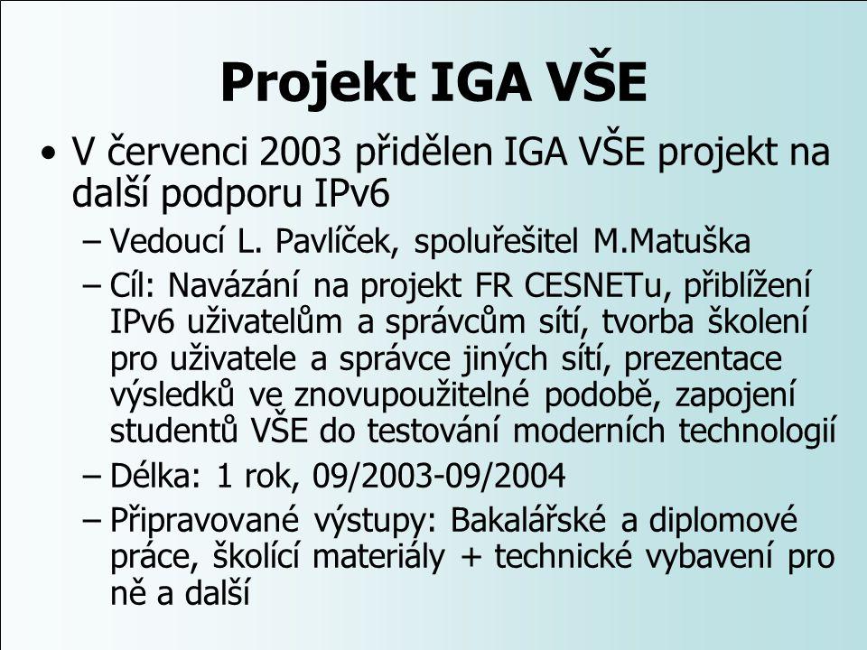 Projekt IGA VŠE V červenci 2003 přidělen IGA VŠE projekt na další podporu IPv6 –Vedoucí L. Pavlíček, spoluřešitel M.Matuška –Cíl: Navázání na projekt