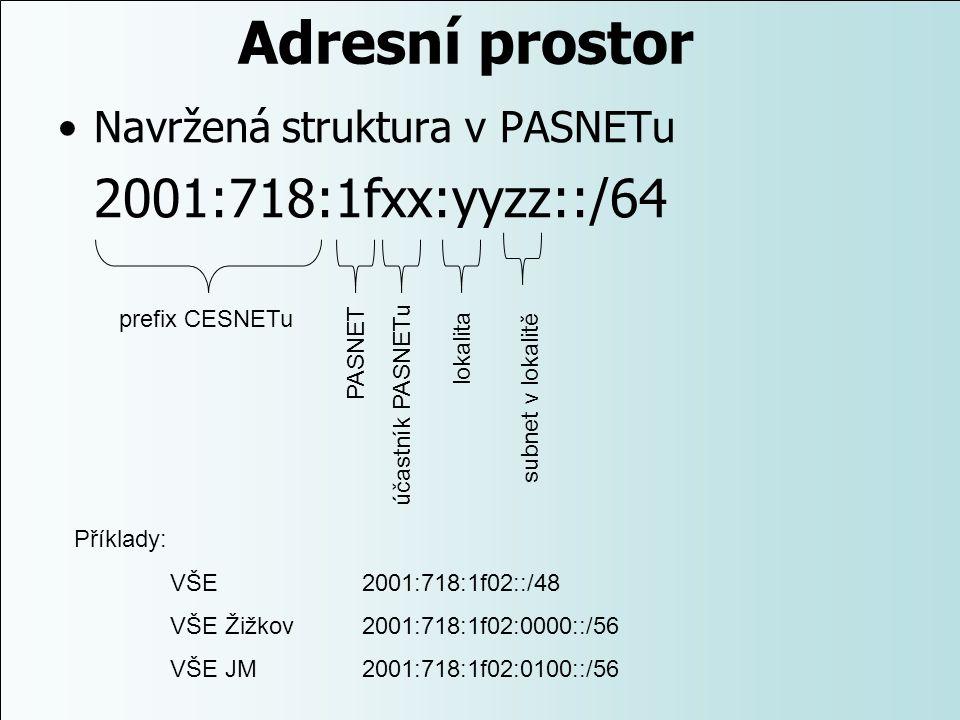 Adresní prostor Navržená struktura v PASNETu 2001:718:1fxx:yyzz::/64 prefix CESNETu PASNET účastník PASNETu lokalita subnet v lokalitě Příklady: VŠE 2