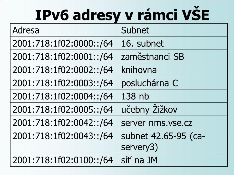 IPv6 adresy v rámci VŠE AdresaSubnet 2001:718:1f02:0000::/6416. subnet 2001:718:1f02:0001::/64zaměstnanci SB 2001:718:1f02:0002::/64knihovna 2001:718: