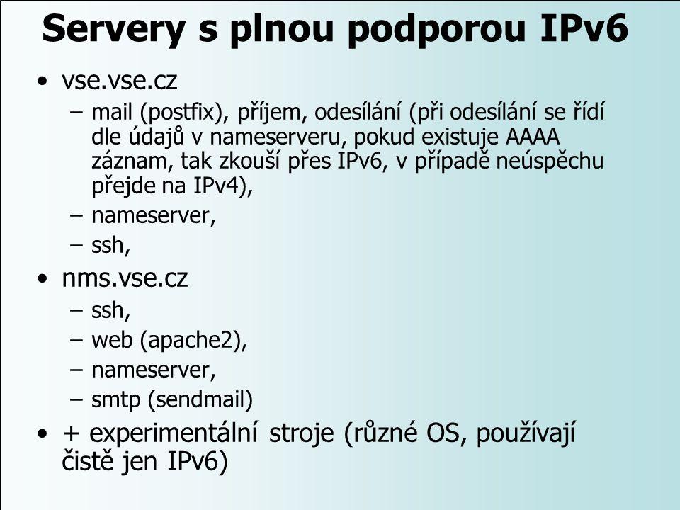 Servery s plnou podporou IPv6 vse.vse.cz –mail (postfix), příjem, odesílání (při odesílání se řídí dle údajů v nameserveru, pokud existuje AAAA záznam