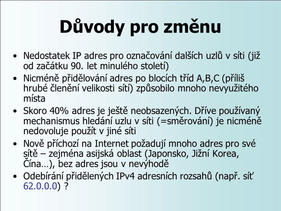 Důvody pro změnu Nedostatek IP adres pro označování dalších uzlů v síti (již od začátku 90. let minulého století) Nicméně přidělování adres po blocích
