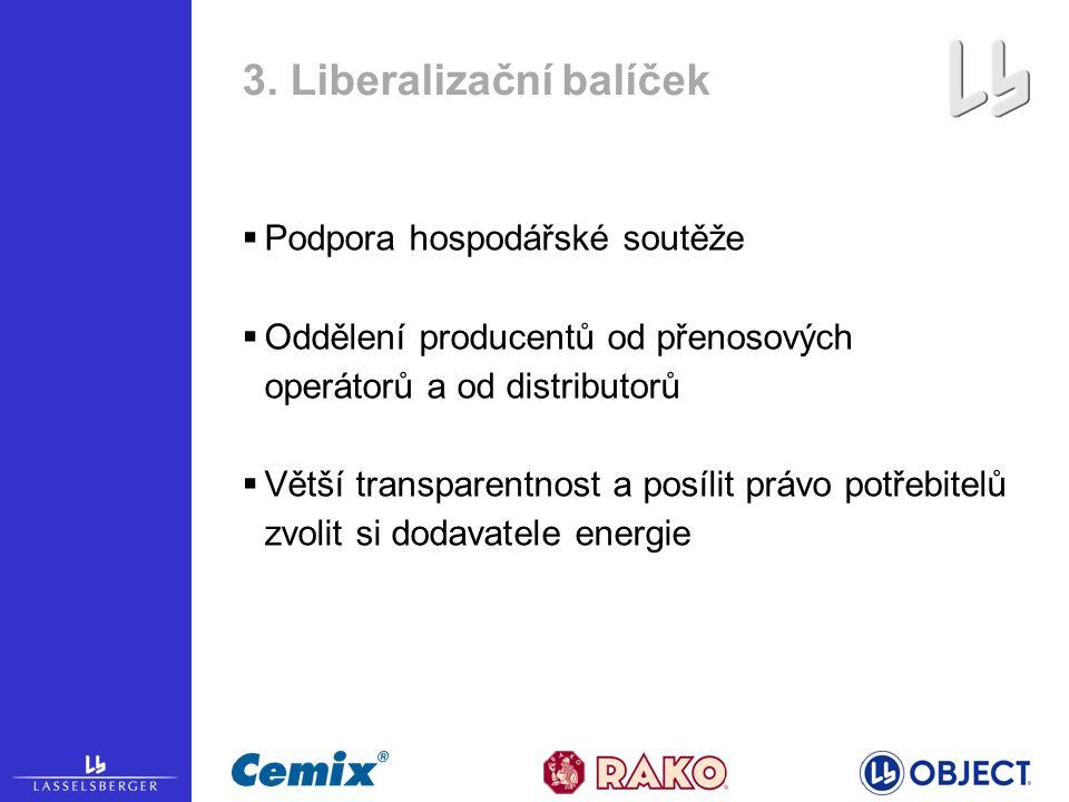3. Liberalizační balíček  Podpora hospodářské soutěže  Oddělení producentů od přenosových operátorů a od distributorů  Větší transparentnost a posí