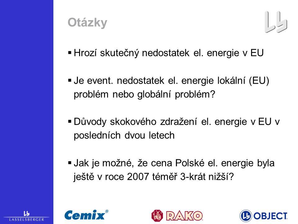 Otázky  Hrozí skutečný nedostatek el. energie v EU  Je event.