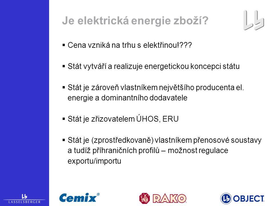 Je elektrická energie zboží.  Cena vzniká na trhu s elektřinou!??.