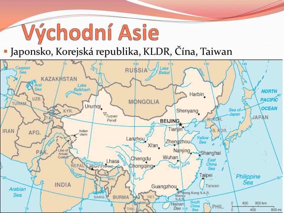 Japonsko  Honšú, Kjúšú, Šikoku, Hokkaidó, Kurily  Na hranici litosférických desek (sopky, zemětřesení)  Podnebí ovlivněno mořskými proudy (Kuro – šio, Oja – šio)