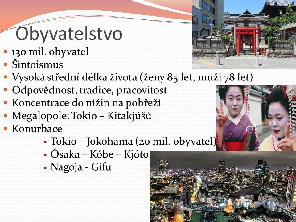 Obyvatelstvo  130 mil. obyvatel  Šintoismus  Vysoká střední délka života (ženy 85 let, muži 78 let)  Odpovědnost, tradice, pracovitost  Koncentra