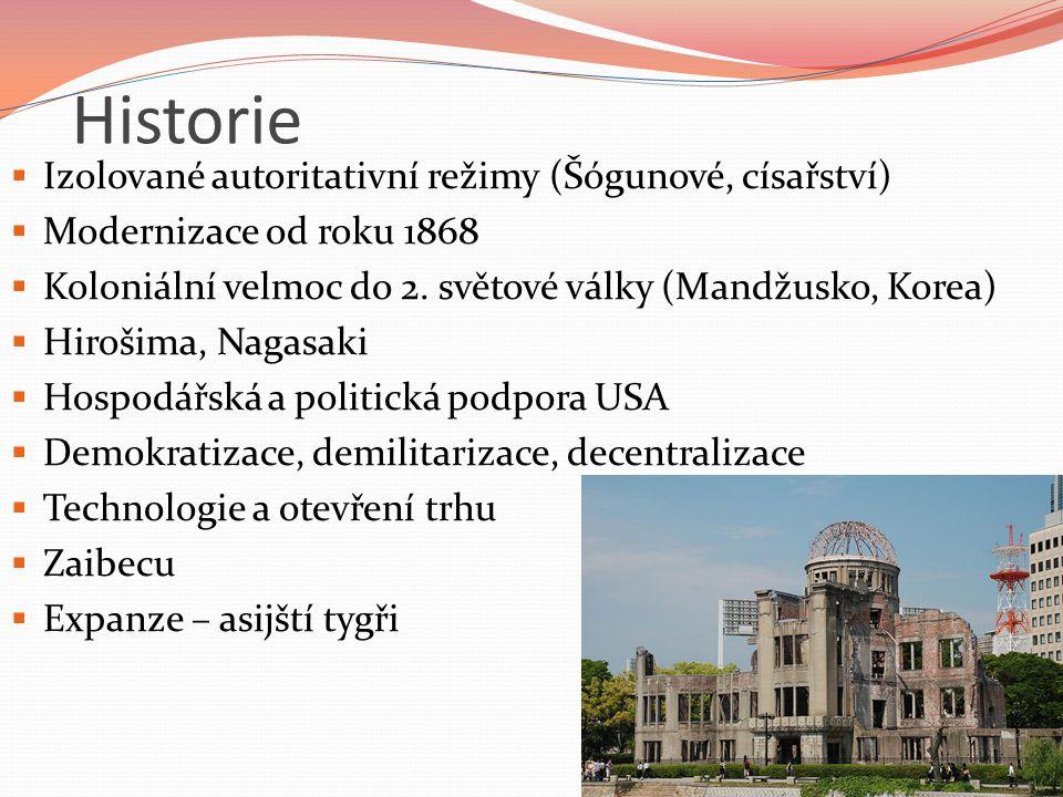Historie  Izolované autoritativní režimy (Šógunové, císařství)  Modernizace od roku 1868  Koloniální velmoc do 2. světové války (Mandžusko, Korea)
