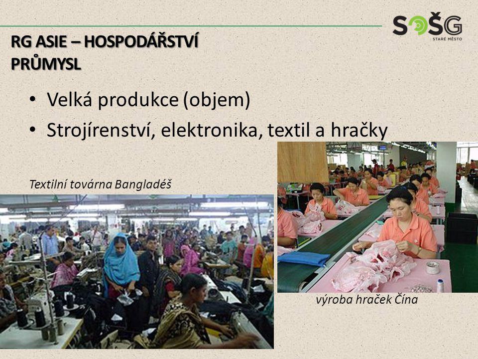 Velká produkce (objem) Strojírenství, elektronika, textil a hračky Textilní továrna Bangladéš výroba hraček Čína RG ASIE – HOSPODÁŘSTVÍ PRŮMYSL