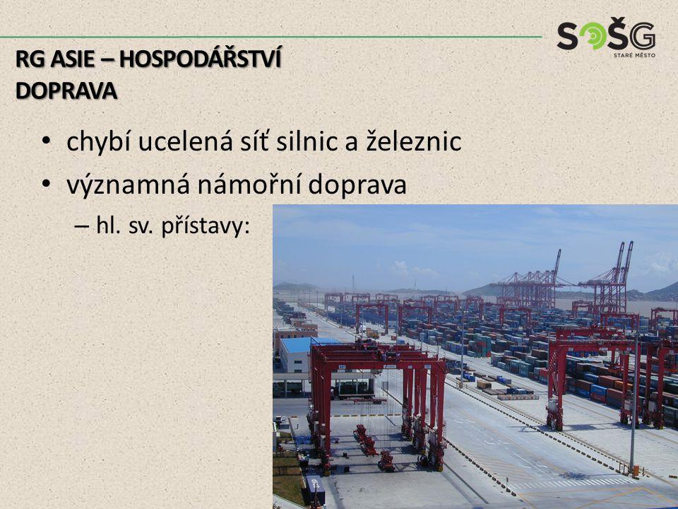 chybí ucelená síť silnic a železnic významná námořní doprava – hl. sv. přístavy: RG ASIE – HOSPODÁŘSTVÍ DOPRAVA