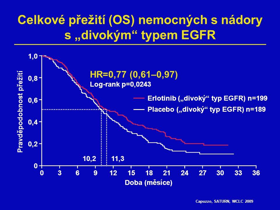"""Capuzzo, SATURN, WCLC 2009 Celkové přežití (OS) nemocných s nádory s """"divokým"""" typem EGFR 0369121518212427303336 1,0 0,8 0,6 0,4 0,2 0 Doba (měsíce) P"""