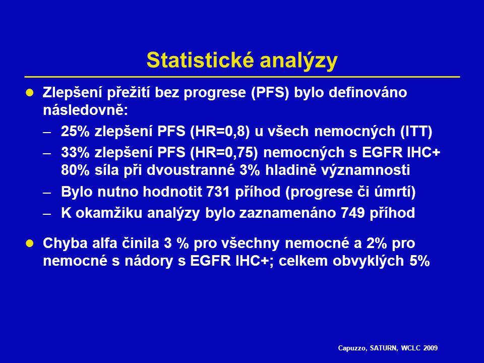 Capuzzo, SATURN, WCLC 2009 Erlotinib (n=438) Placebo (n=451) Věk, medián (rozptyl), roky60 (33–83)60 (30–81) Muži / ženy, %73 / 2775 / 25 Stádium IIIB / IV, %26 / 7424 / 76 Rasa kavkazská / asijská / jiná, %84 / 14 / 183 / 15 / 1 ECOG PS 0 / 1, %31 / 6932 / 68 Kuřáci / ex-kuřáci / nekuřáci, %55 / 28 / 1856 / 27 /17 Adenokarcinom / dlaždicový karcinom / jiný, %47 / 38 / 1544 / 43 / 13 Odpověď na předchozí chemoterapii, CR / PR/ SD, %<1 / 42 / 58<1 / 47 / 52 Vstupní charakteristiky CR = úplná odpověď; PR = částečná odpověď; SD = stabilizace nemoci