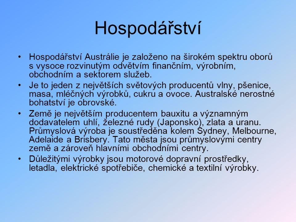 Hospodářství Hospodářství Austrálie je založeno na širokém spektru oborů s vysoce rozvinutým odvětvím finančním, výrobním, obchodním a sektorem služeb.
