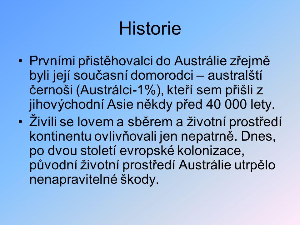 Historie Prvními přistěhovalci do Austrálie zřejmě byli její současní domorodci – australští černoši (Austrálci-1%), kteří sem přišli z jihovýchodní Asie někdy před 40 000 lety.