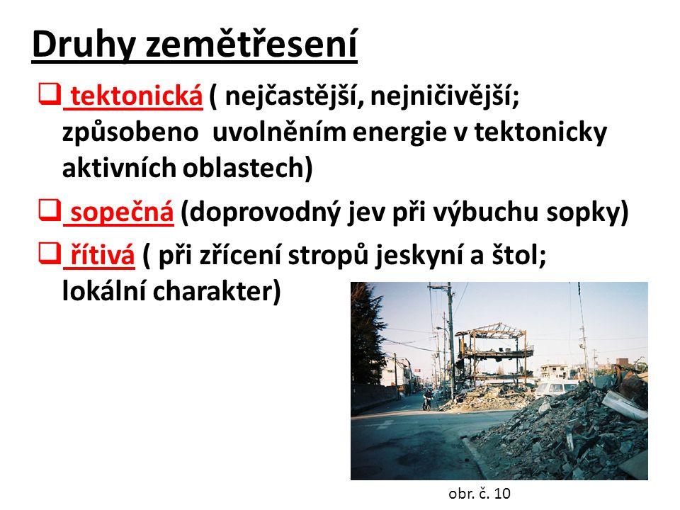 Druhy zemětřesení  tektonická ( nejčastější, nejničivější; způsobeno uvolněním energie v tektonicky aktivních oblastech)  sopečná (doprovodný jev při výbuchu sopky)  řítivá ( při zřícení stropů jeskyní a štol; lokální charakter) obr.