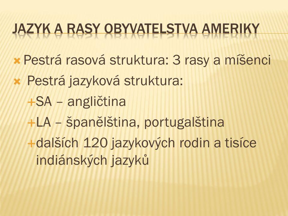  Pestrá rasová struktura: 3 rasy a míšenci  Pestrá jazyková struktura:  SA – angličtina  LA – španělština, portugalština  dalších 120 jazykových