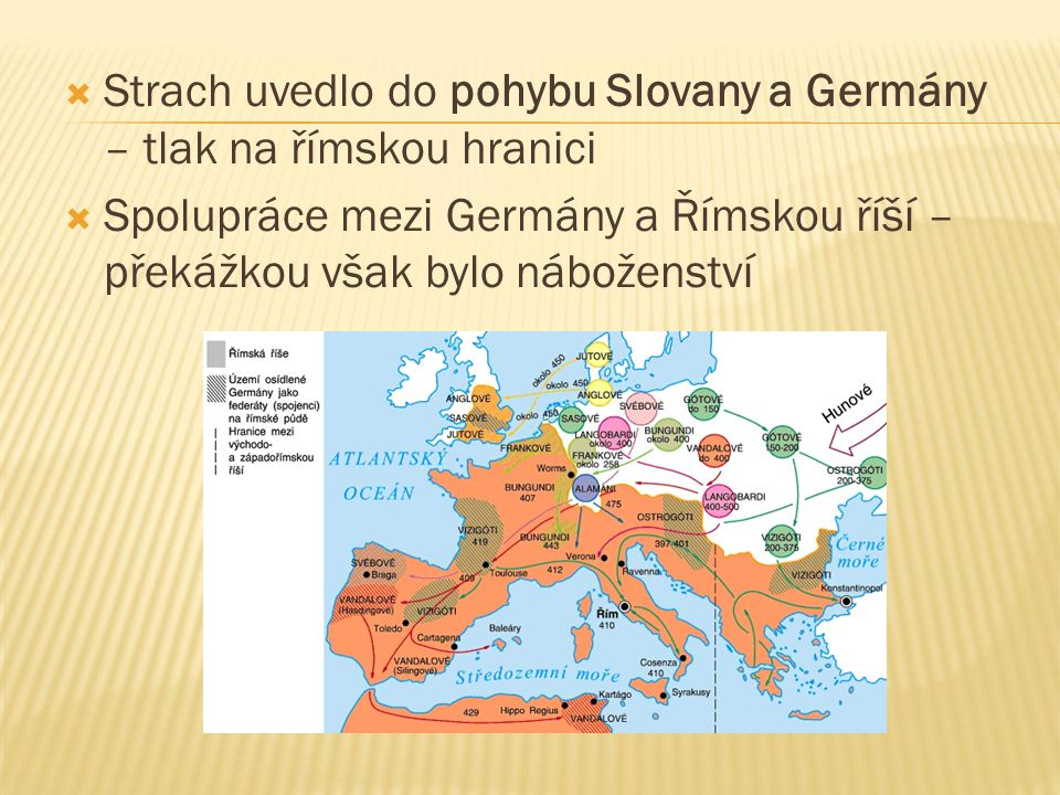  Strach uvedlo do pohybu Slovany a Germány – tlak na římskou hranici  Spolupráce mezi Germány a Římskou říší – překážkou však bylo náboženství