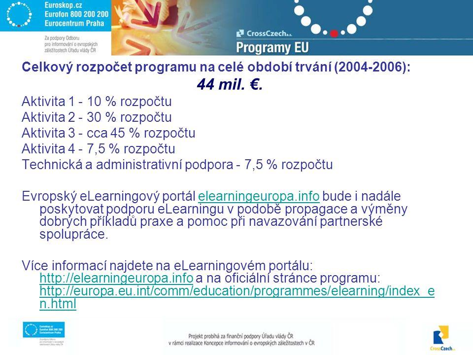Celkový rozpočet programu na celé období trvání (2004-2006): 44 mil.