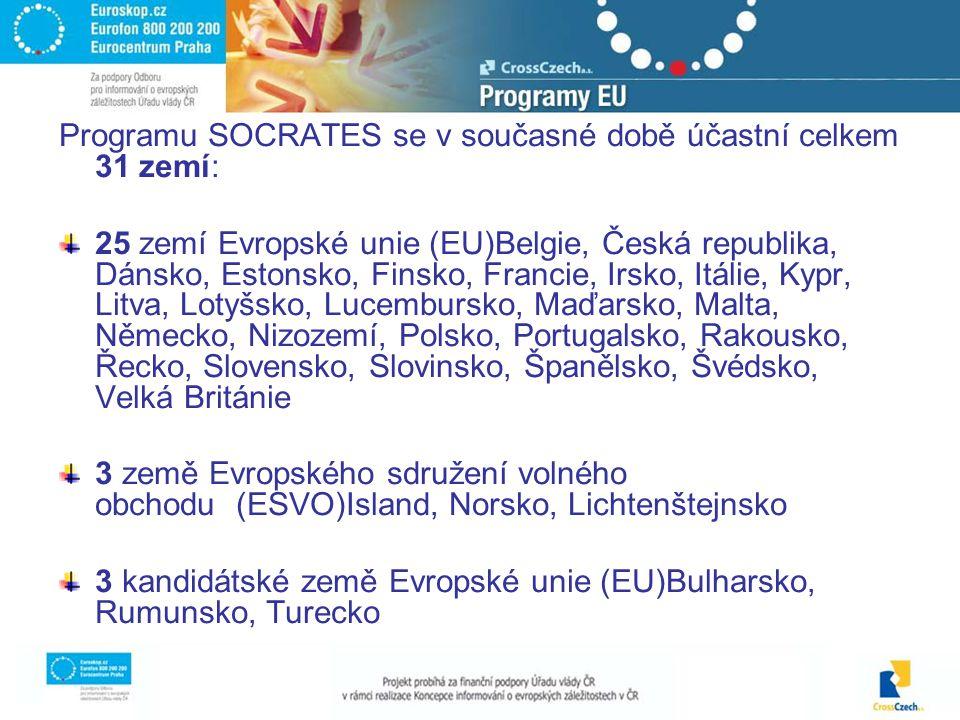 Programu SOCRATES se v současné době účastní celkem 31 zemí: 25 zemí Evropské unie (EU)Belgie, Česká republika, Dánsko, Estonsko, Finsko, Francie, Irsko, Itálie, Kypr, Litva, Lotyšsko, Lucembursko, Maďarsko, Malta, Německo, Nizozemí, Polsko, Portugalsko, Rakousko, Řecko, Slovensko, Slovinsko, Španělsko, Švédsko, Velká Británie 3 země Evropského sdružení volného obchodu (ESVO)Island, Norsko, Lichtenštejnsko 3 kandidátské země Evropské unie (EU)Bulharsko, Rumunsko, Turecko