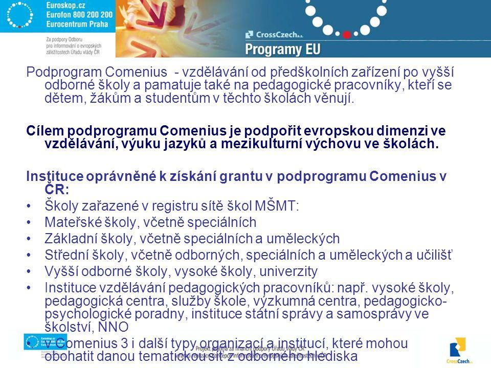 Podprogram Comenius - vzdělávání od předškolních zařízení po vyšší odborné školy a pamatuje také na pedagogické pracovníky, kteří se dětem, žákům a studentům v těchto školách věnují.