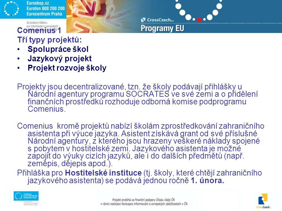 Comenius 1 Tří typy projektů: Spolupráce škol Jazykový projekt Projekt rozvoje školy Projekty jsou decentralizované, tzn.