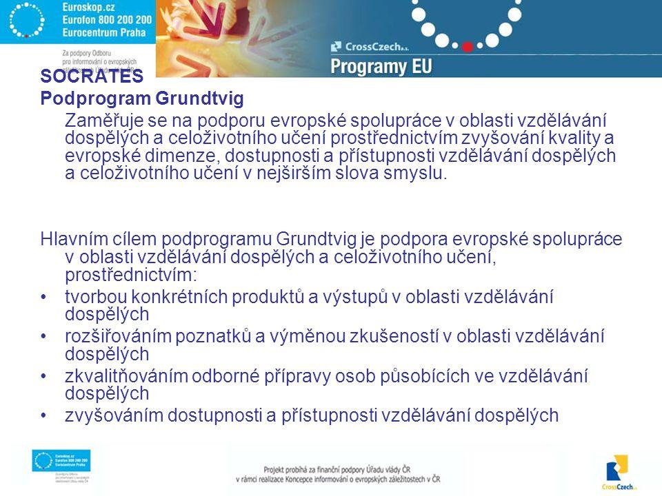 SOCRATES Podprogram Grundtvig Zaměřuje se na podporu evropské spolupráce v oblasti vzdělávání dospělých a celoživotního učení prostřednictvím zvyšování kvality a evropské dimenze, dostupnosti a přístupnosti vzdělávání dospělých a celoživotního učení v nejširším slova smyslu.