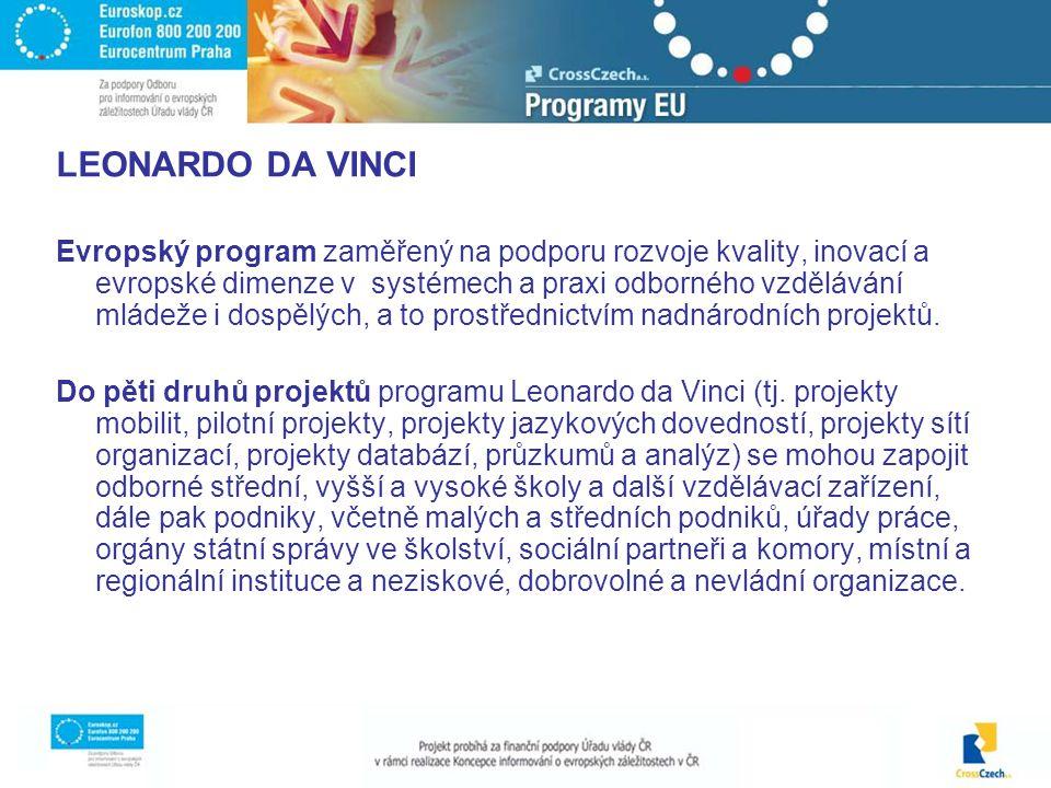 LEONARDO DA VINCI Evropský program zaměřený na podporu rozvoje kvality, inovací a evropské dimenze v systémech a praxi odborného vzdělávání mládeže i dospělých, a to prostřednictvím nadnárodních projektů.
