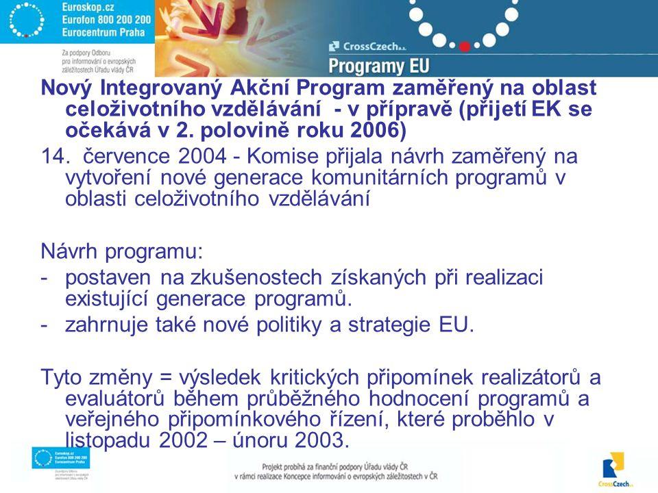 Nový Integrovaný Akční Program zaměřený na oblast celoživotního vzdělávání - v přípravě (přijetí EK se očekává v 2.