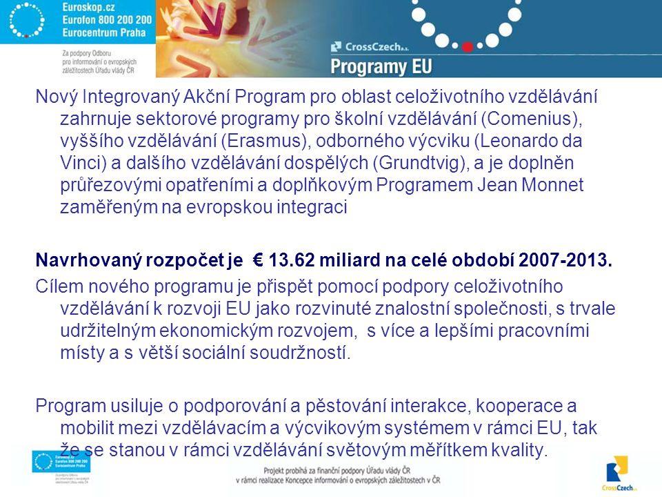 Nový Integrovaný Akční Program pro oblast celoživotního vzdělávání zahrnuje sektorové programy pro školní vzdělávání (Comenius), vyššího vzdělávání (Erasmus), odborného výcviku (Leonardo da Vinci) a dalšího vzdělávání dospělých (Grundtvig), a je doplněn průřezovými opatřeními a doplňkovým Programem Jean Monnet zaměřeným na evropskou integraci Navrhovaný rozpočet je € 13.62 miliard na celé období 2007-2013.