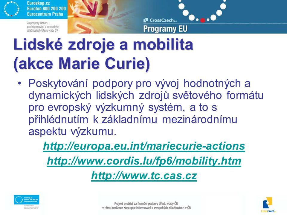Lidské zdroje a mobilita (akce Marie Curie) Poskytování podpory pro vývoj hodnotných a dynamických lidských zdrojů světového formátu pro evropský výzkumný systém, a to s přihlédnutím k základnímu mezinárodnímu aspektu výzkumu.