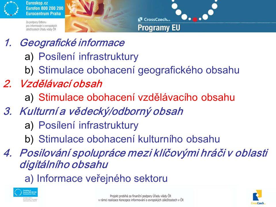 1.Geografické informace a)Posílení infrastruktury b)Stimulace obohacení geografického obsahu 2.Vzdělávací obsah a)Stimulace obohacení vzdělávacího obsahu 3.Kulturní a vědecký/odborný obsah a)Posílení infrastruktury b)Stimulace obohacení kulturního obsahu 4.Posilování spolupráce mezi klíčovými hráči v oblasti digitálního obsahu a) Informace veřejného sektoru