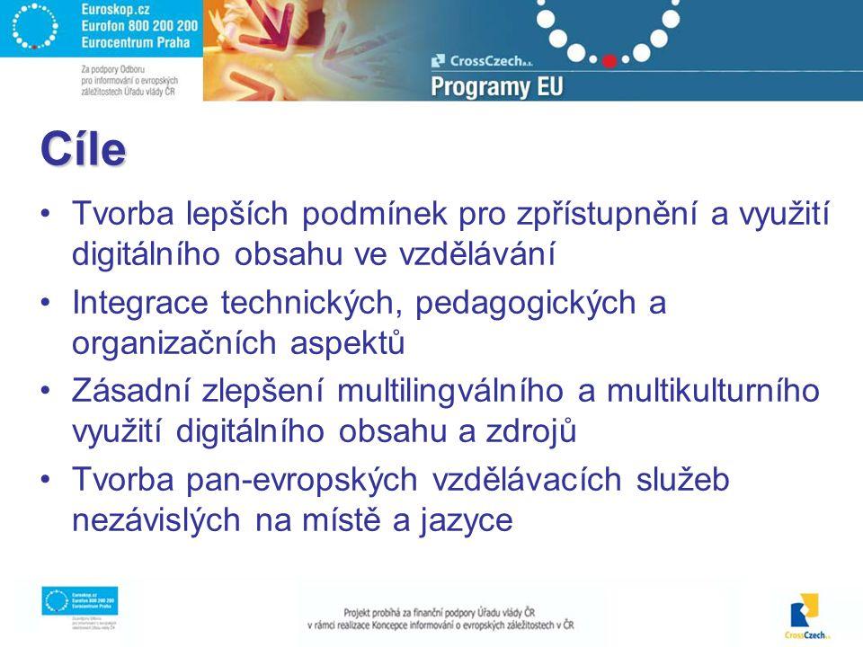 Cíle Tvorba lepších podmínek pro zpřístupnění a využití digitálního obsahu ve vzdělávání Integrace technických, pedagogických a organizačních aspektů Zásadní zlepšení multilingválního a multikulturního využití digitálního obsahu a zdrojů Tvorba pan-evropských vzdělávacích služeb nezávislých na místě a jazyce