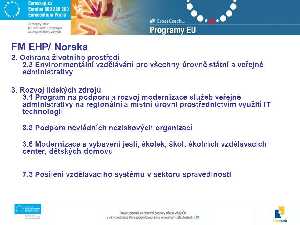 FM EHP/ Norska 2. Ochrana životního prostředí 2.3 Environmentální vzdělávání pro všechny úrovně státní a veřejné administrativy 3. Rozvoj lidských zdr