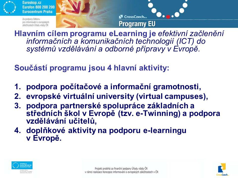 Hlavním cílem programu eLearning je efektivní začlenění informačních a komunikačních technologií (ICT) do systémů vzdělávání a odborné přípravy v Evropě.