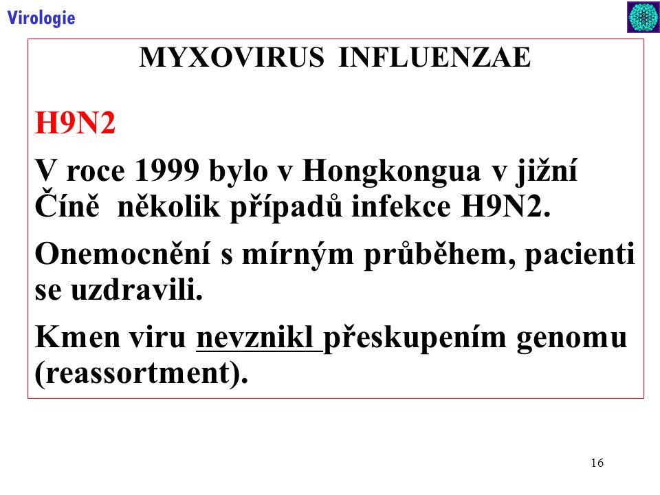 16 Virologie MYXOVIRUS INFLUENZAE H9N2 V roce 1999 bylo v Hongkongua v jižní Číně několik případů infekce H9N2.