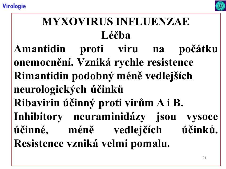 21 Virologie MYXOVIRUS INFLUENZAE Léčba Amantidin proti viru na počátku onemocnění.