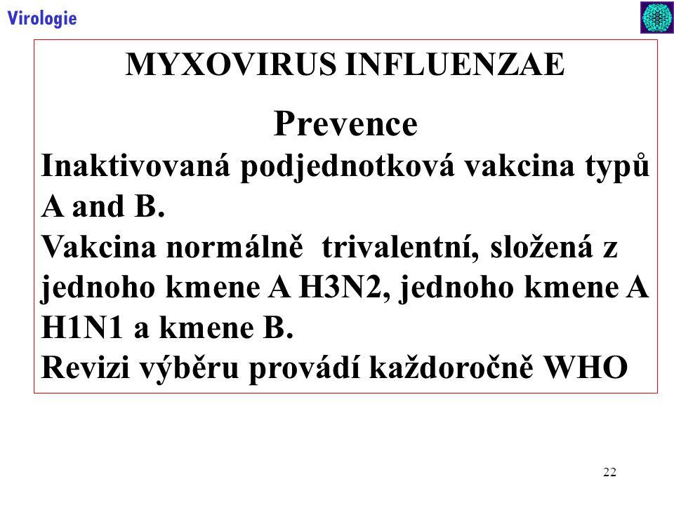 22 Virologie MYXOVIRUS INFLUENZAE Prevence Inaktivovaná podjednotková vakcina typů A and B.