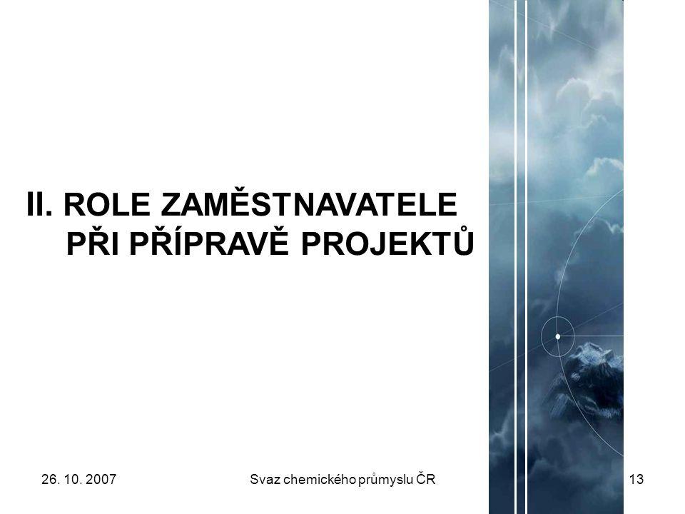 26. 10. 2007Svaz chemického průmyslu ČR13 II. ROLE ZAMĚSTNAVATELE PŘI PŘÍPRAVĚ PROJEKTŮ
