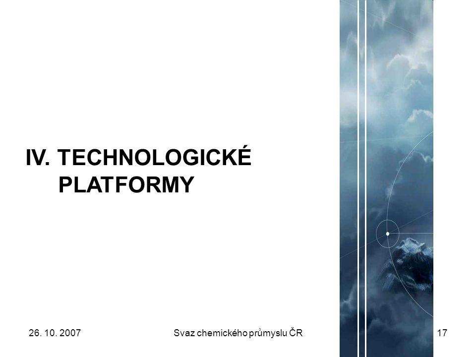 26. 10. 2007Svaz chemického průmyslu ČR17 IV. TECHNOLOGICKÉ PLATFORMY