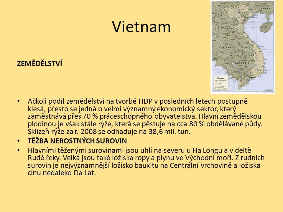 Vietnam ZEMĚDĚLSTVÍ Ačkoli podíl zemědělství na tvorbě HDP v posledních letech postupně klesá, přesto se jedná o velmi významný ekonomický sektor, který zaměstnává přes 70 % práceschopného obyvatelstva.