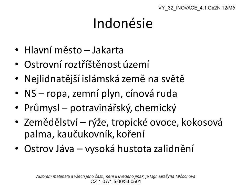 VY_32_INOVACE_4.1.Ge2N.12/Mč Autorem materiálu a všech jeho částí, není-li uvedeno jinak, je Mgr. Gražyna Mlčochová CZ.1.07/1.5.00/34.0501 Indonésie H