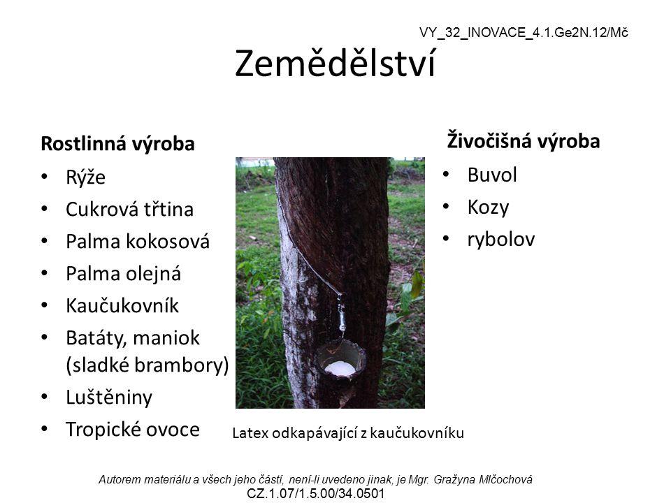 VY_32_INOVACE_4.1.Ge2N.12/Mč Autorem materiálu a všech jeho částí, není-li uvedeno jinak, je Mgr. Gražyna Mlčochová CZ.1.07/1.5.00/34.0501 Zemědělství