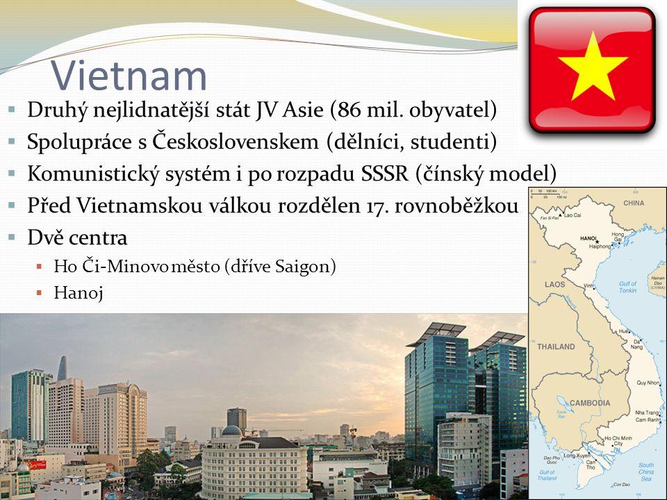 Vietnam  Druhý nejlidnatější stát JV Asie (86 mil.