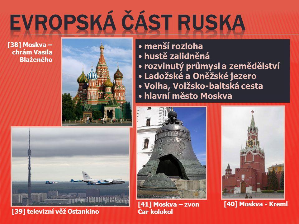 menší rozloha hustě zalidněná rozvinutý průmysl a zemědělství Ladožské a Oněžské jezero Volha, Volžsko-baltská cesta hlavní město Moskva [40] Moskva -